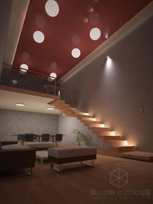 interior de oficina: Estudios y oficinas de estilo moderno por Base cubica Arquitectos