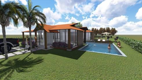 Perspectiva Frontal Derecho: Casas de estilo rural por ARQUITECTO JUAN ANDRES GUTIERREZ PEREZ