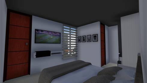 Casa Flor Amarillo: Habitaciones de estilo minimalista por ARQUITECTO JUAN ANDRES GUTIERREZ PEREZ