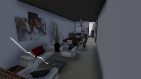 Casa Flor Amarillo: Salas de estilo minimalista por ARQUITECTO JUAN ANDRES GUTIERREZ PEREZ