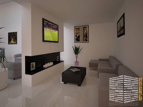 SALA DE TV : Salas multimedia de estilo minimalista por HHRG ARQUITECTOS