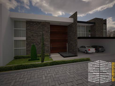 CASA CON PIEDRA Y COCHERA TECHADA: Casas de estilo moderno por HHRG ARQUITECTOS