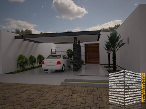 COCHERA TECHADA: Casas de estilo minimalista por HHRG ARQUITECTOS