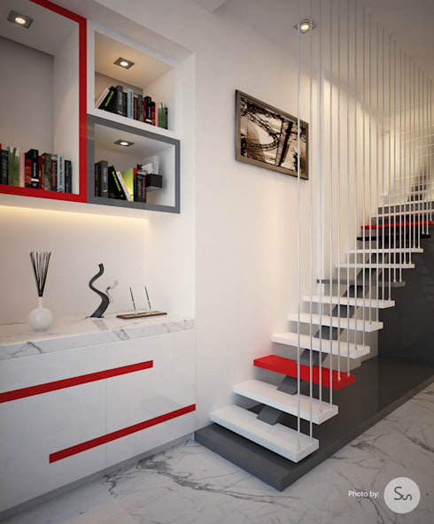 Office Interior:  Corridor, hallway & stairs  by sudin patil architects