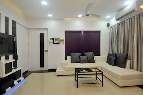 Home Interior: minimalistic Living room by sudin patil architects