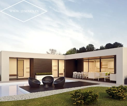Exterior Architectural Visualization: modern Houses by 3d Maya