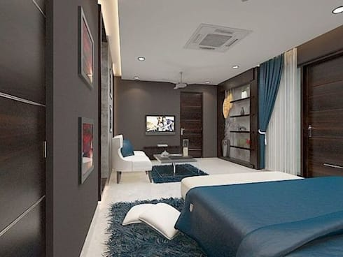 Residence in Mianwali, New Delhi: modern Bedroom by Farben Corner