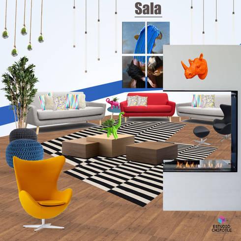 Casa FDE: Salas de estilo moderno por Estudio Chipotle