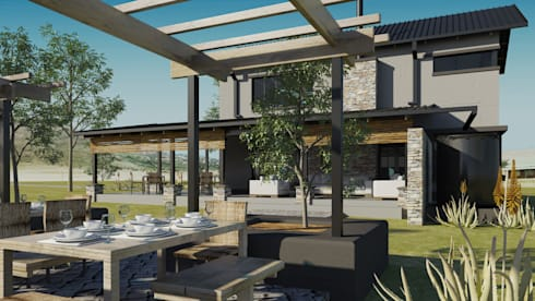 Holiday home for weekend rentals:  Patios by Edge Design Studio Architects