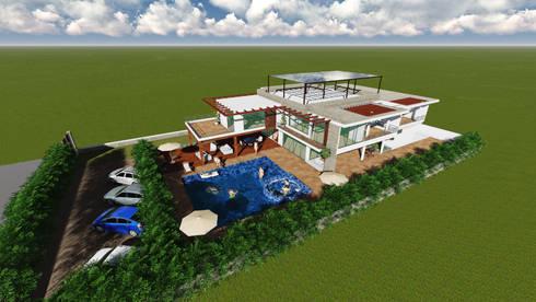 VISTA EN PERSPECTIVA VIVIENDA: modern Houses by HERES CONSTRUCTORA