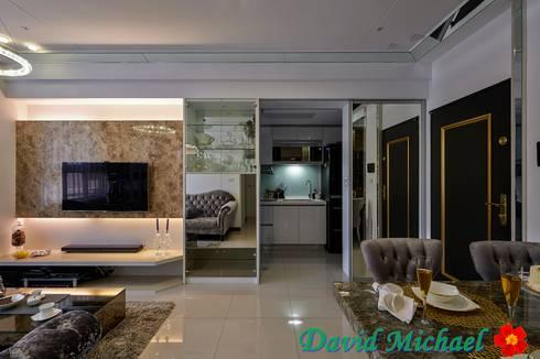 對稱櫃體:  走廊 & 玄關 by 大衛麥可國際設計工程有限公司
