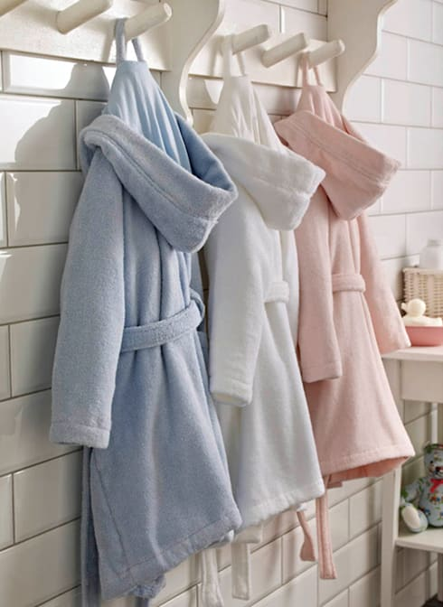 Childrens Zero-Twist Pure Cotton Bathrobe with Hood:  Bathroom by King of Cotton