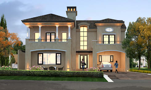 Italian Villa at Jandu Singha, Jalandhar:   by Gagan Architects