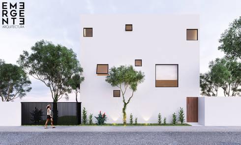 FRONTAL ACCESO: Casas de estilo minimalista por EMERGENTE   Arquitectura