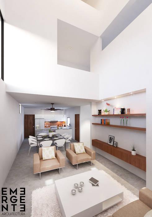 SALA: Casas de estilo minimalista por EMERGENTE | Arquitectura