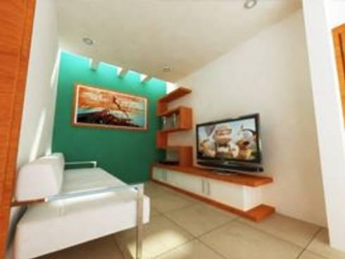 AREA DE TELEVISION: Salas multimedia de estilo minimalista por DLR ARQUITECTURA/ DLR DISEÑO EN MADERA