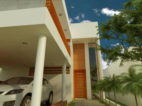 ACCESO A CASA HABITACION: Casas de estilo minimalista por DLR ARQUITECTURA/ DLR DISEÑO EN MADERA