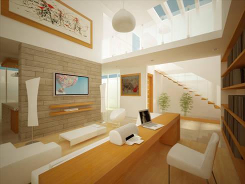 SALA/ESTUDIO DOBLE ALTURA: Salas multimedia de estilo minimalista por DLR ARQUITECTURA/ DLR DISEÑO EN MADERA