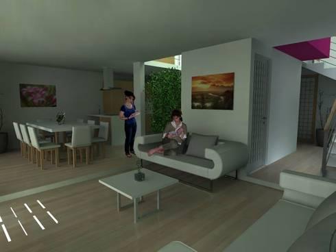 Sala  de Estar y Comedor : Salas de estilo moderno por Lobato Arquitectura