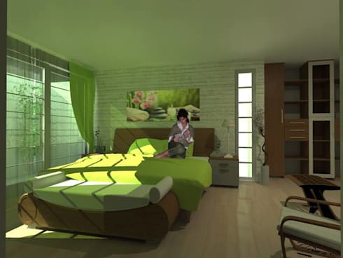 Recamara : Recámaras de estilo moderno por Lobato Arquitectura