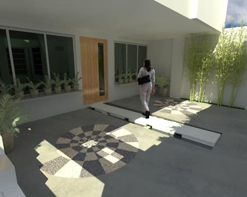 Acceso Principal : Casas de estilo moderno por Lobato Arquitectura