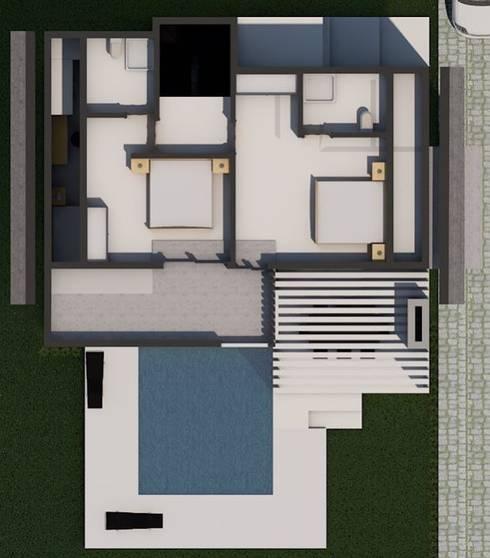 LEYLA ERCAN MİMARLIK – Çatı Kat Planı:  tarz Yatak Odası