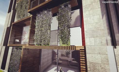 VISTA A MUROS VERDES EN FACHADA: Casas de estilo moderno por CA ARQUITECTOS