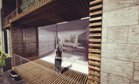VISTA DEL AREA DE TERRAZA: Casas de estilo moderno por CA ARQUITECTOS