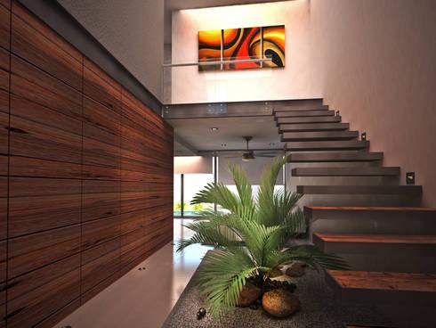AQUA: Pasillos y recibidores de estilo  por Art.chitecture, Taller de Arquitectura e Interiorismo 📍 Cancún, México.