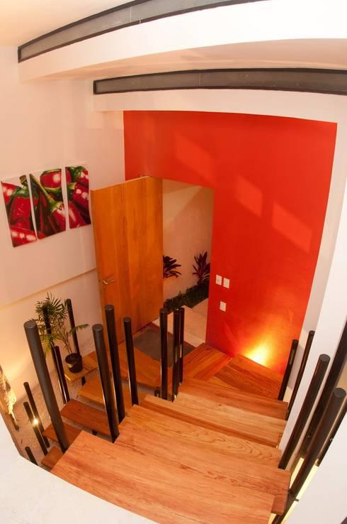 ESCALERAS E INGRESO: Pasillos y recibidores de estilo  por FRACTAL CORP Arquitectura