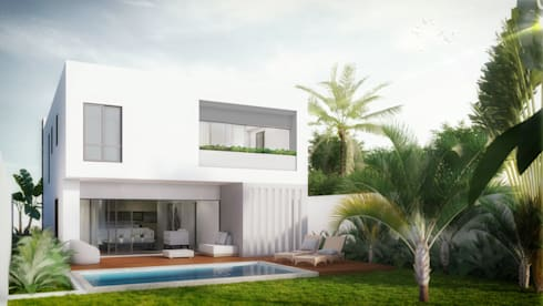 Fachada trasera: Casas de estilo minimalista por Taller Veinte