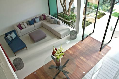 CASA DEL ARBOL: Salas de estilo moderno por Vau Studio