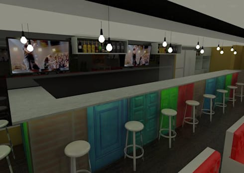RENDER MUEBLE: Bares y discotecas de estilo  por KAYROS ARQUITECTURA DISEÑO INTERIOR