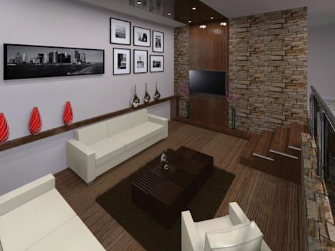 Casa FM: Salas de estilo minimalista por HC Arquitecto