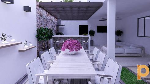 jardin vista 2: Jardines de estilo moderno por planeacion y proyectos constructivos s.a de c.v.