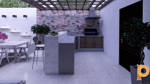asador: Jardines de estilo moderno por planeacion y proyectos constructivos s.a de c.v.