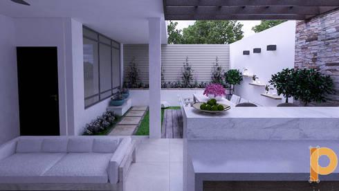 sala de estar: Salas de estilo moderno por planeacion y proyectos constructivos s.a de c.v.