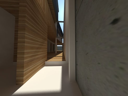 Casa Jara-Andrade, Iquique… Tramas, vacío y luz.: Pasillos y hall de entrada de estilo  por Toledo estudio Arquitectos