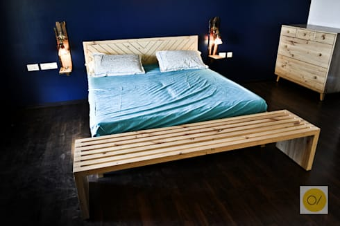 Eccentric House, Pune: rustic Bedroom by ogling inches design architects