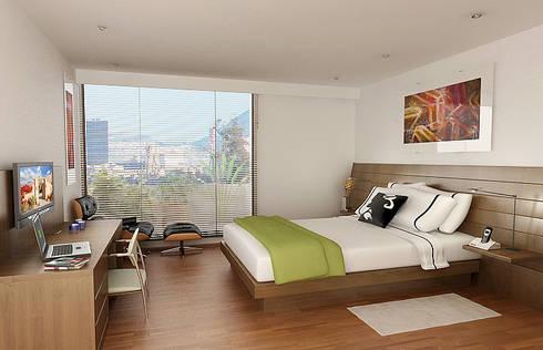 HOTEL BH93: Habitaciones de estilo moderno por MRV ARQUITECTOS