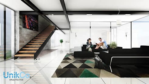 Residencia Arana Sala -  Zapopan, Jalisco.: Salas de estilo minimalista por Unikco Arquitectos