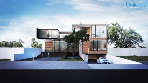 Residencia Arana Exterior - Zapopan, Jalisco.: Casas de estilo minimalista por Unikco Arquitectos