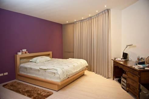 一房一廳公寓(舊屋整修)-黎公館:  臥室 by 七輪空間設計