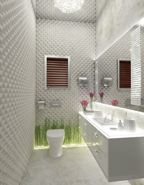 White Powder Room:  Bathroom by AAMRAPALI BHOGLE