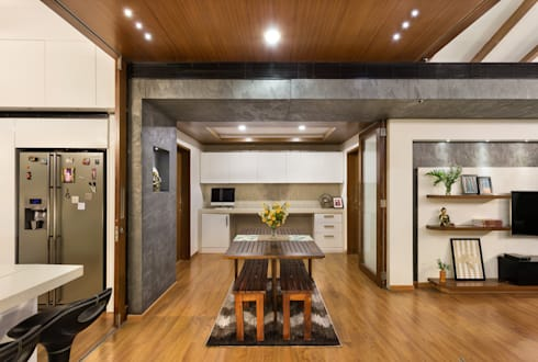 Kalyan Penthouse / Apartment Interiors: modern Dining room by Source Architecture