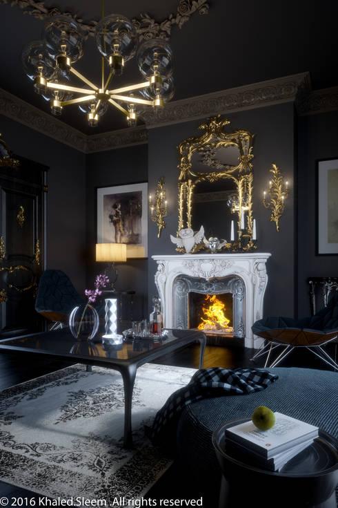 Classic In Black: classic Living room تنفيذ khaled