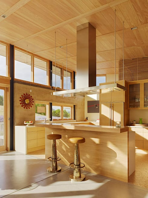 Caterpillar House: modern Kitchen by Feldman Architecture