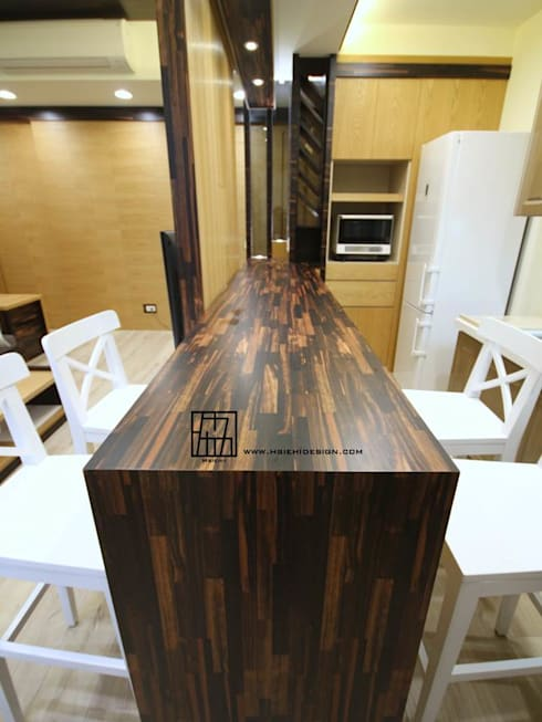 實木吧檯:  餐廳 by 協億室內設計有限公司