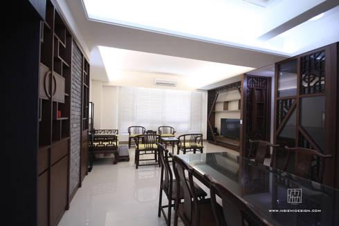 客廳與餐廳:  餐廳 by 協億室內設計有限公司