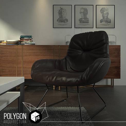 Visualizacion 3D: Salas de estilo moderno por Polygon Arquitectura